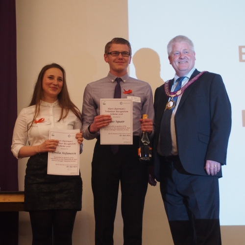 Councillor Alan Oliver Presenting The Certificates Of Appreciation To Emilia And Ross