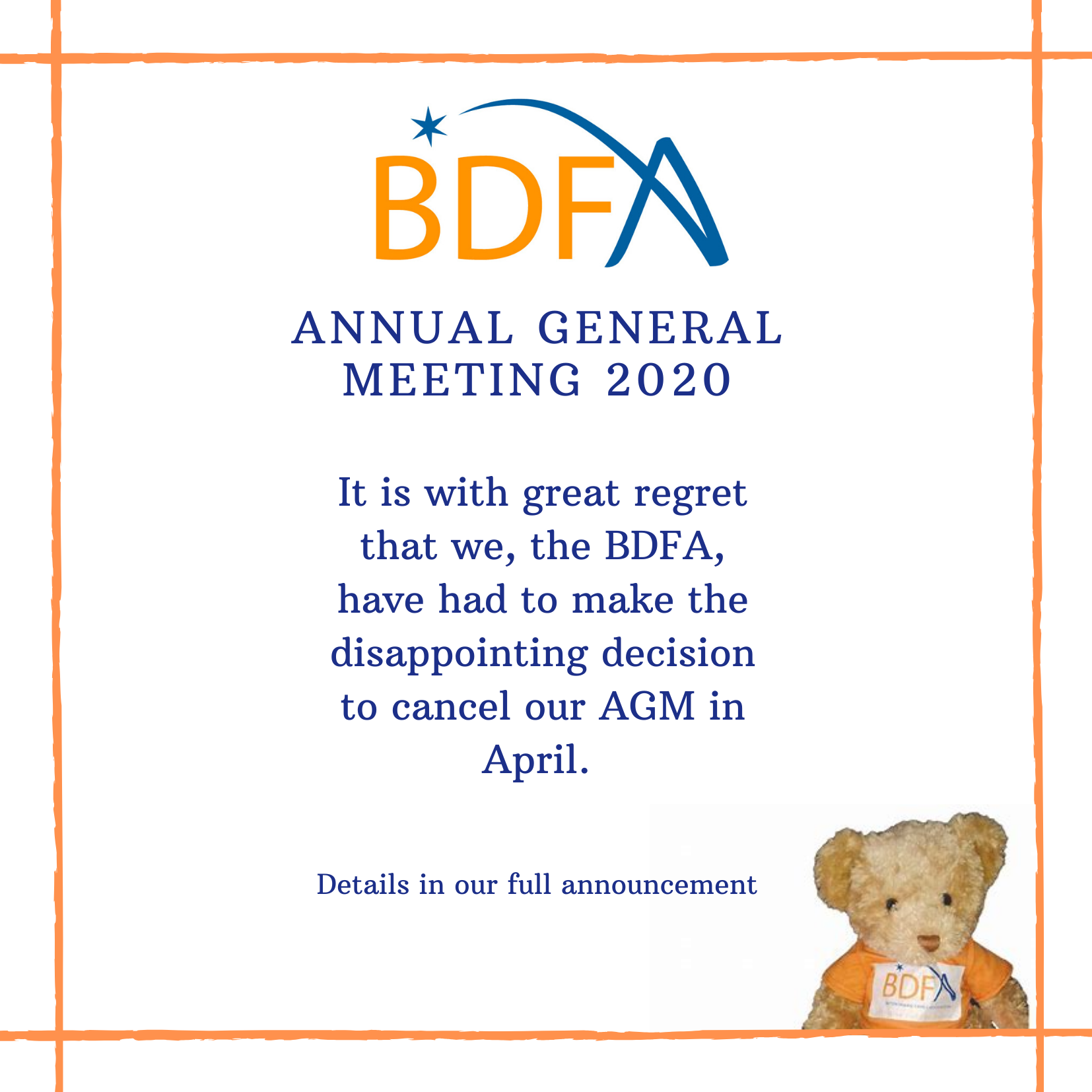 Cancellation Of AGM On 25th April 2020